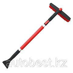 Щетка-скребок с мягкой ручкой и распушенной щетиной, поворотная, телескопич (90-130 см)AVS SB-6330