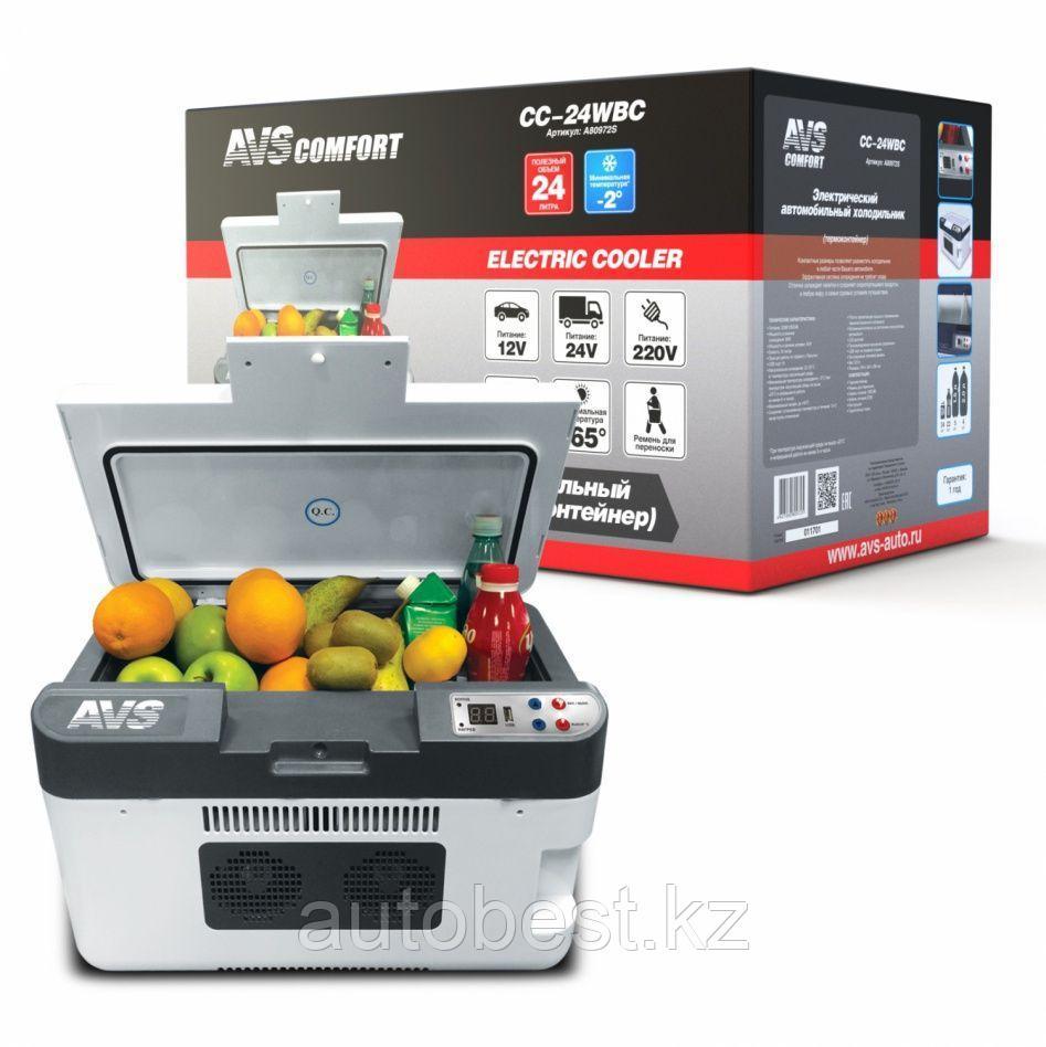 Холодильник автомобильный AVS CC-24WBC(программное цифровое управление, USB-порт)  24л 12V/24V/220V