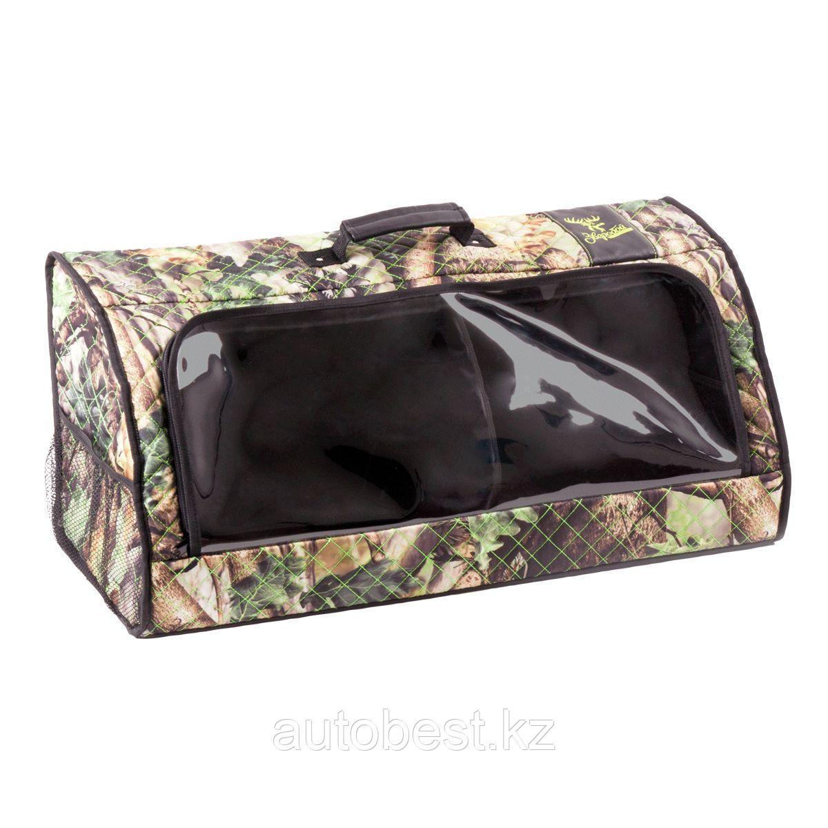 Органайзер в багажник «Зверобой», 70*30*30 см, прозрачный клапан, брезентовая ткань, вставки из экокожи, расцв