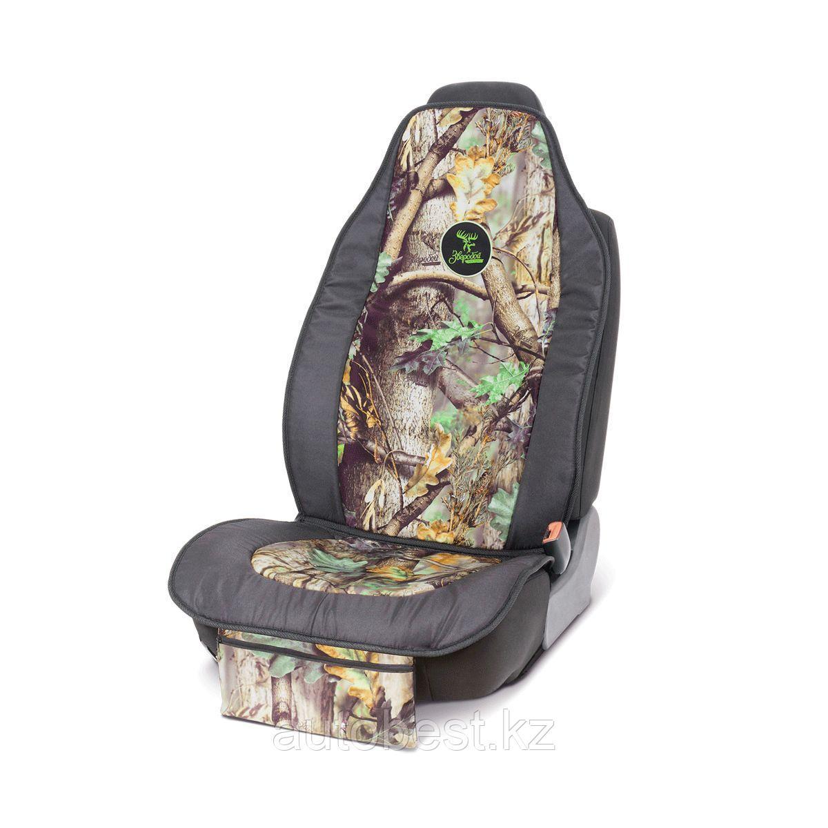 Чехол накидка на перед. сиденье «Зверобой»,  брезентовая ткань, поролон 10 мм,  расцветка «летний камуфляж»