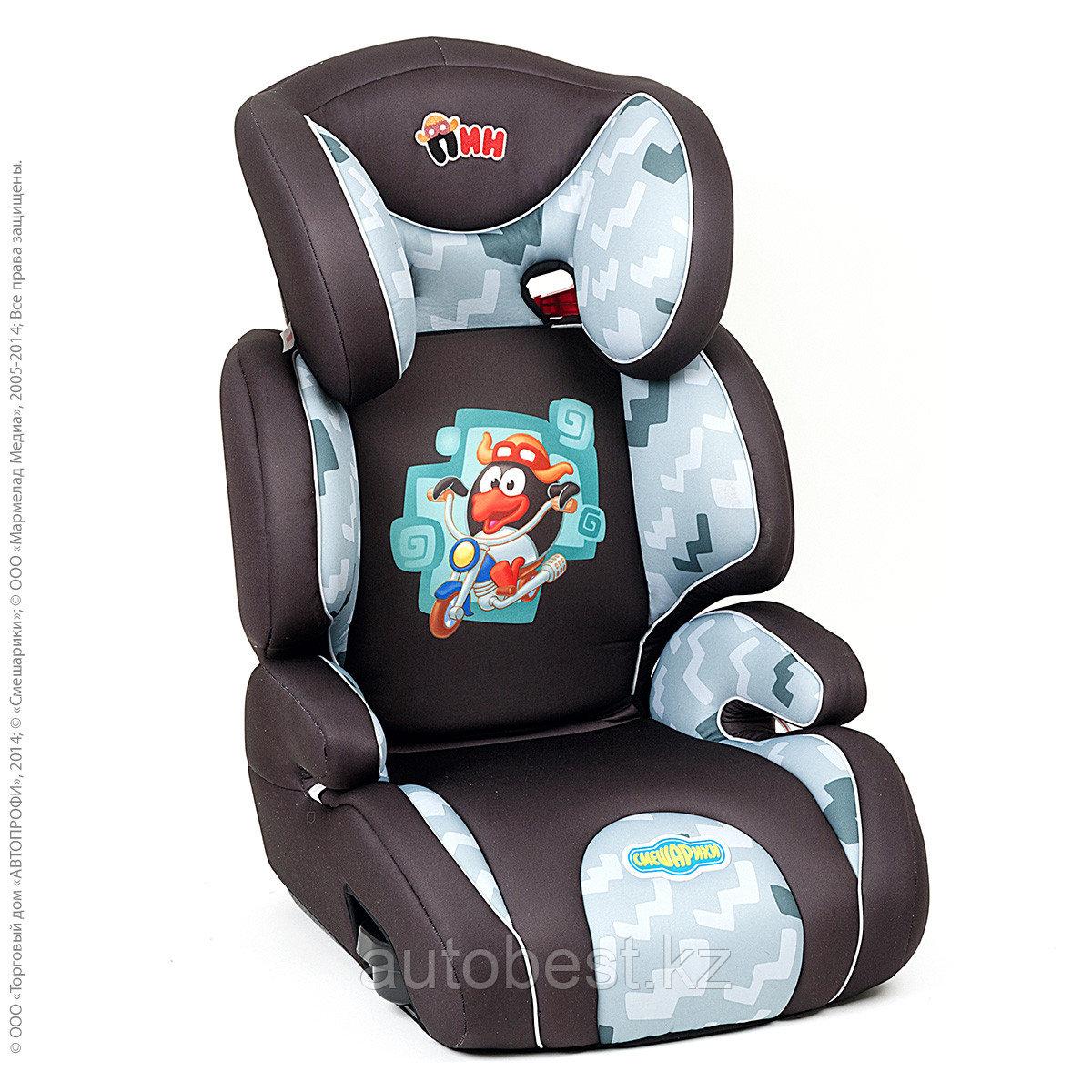 Детское кресло «Смешарики», группы  2/3 (15-36кг/3-12 года),с Пином, поролон 3 см, черн./тем. серый