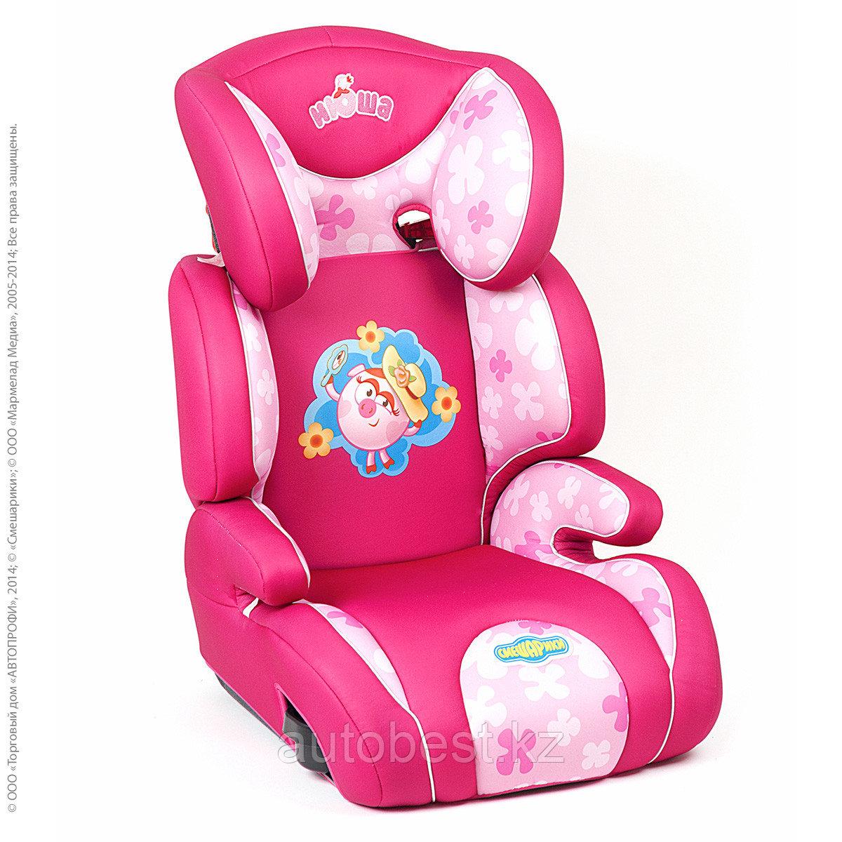 Детское кресло «Смешарики», группы 2/3 (15-36кг/3-12года),с Нюшей, поролон 3 см,розовый