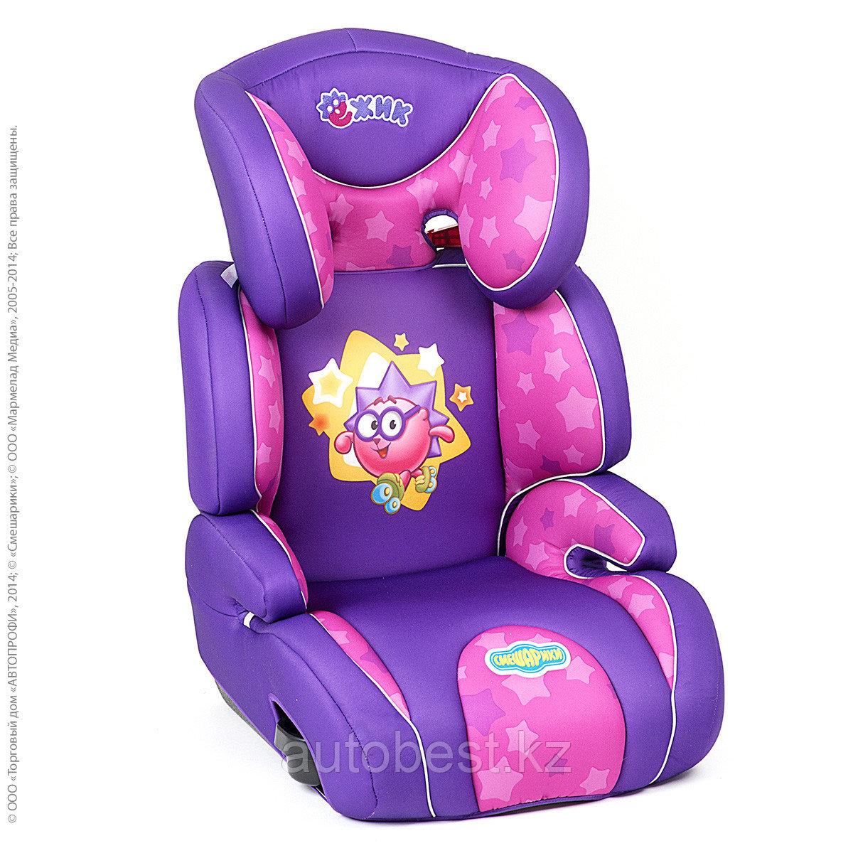 Детское кресло «Смешарики», группы2/3 (15-36кг/3-12 года),с Ежиком, поролон 3 см,фиолетовый