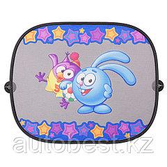 Шторка- экран на боковое окно «Смешарики», 44*36 см,2 шт., осн. цвет черный, синий/голубой с Крошем