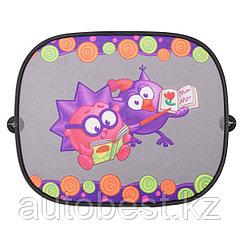 Шторка- экран на боковое окно «Смешарики», 44*36 см,2 шт., осн. цвет черный, фиолетовый с Ежиком