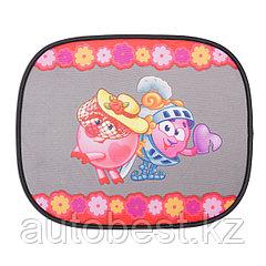 Шторка- экран на боковое окно «Смешарики», 44*36 см,2 шт., осн. цвет черный, розовое с Нюшей