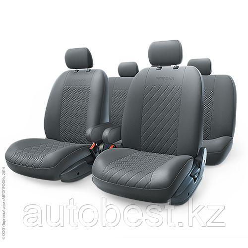 PERSONA Full авточехлы экокожа, спинка из эласт. экокожи(13 предм. 2 подлокот, Airbag), черный 1/5