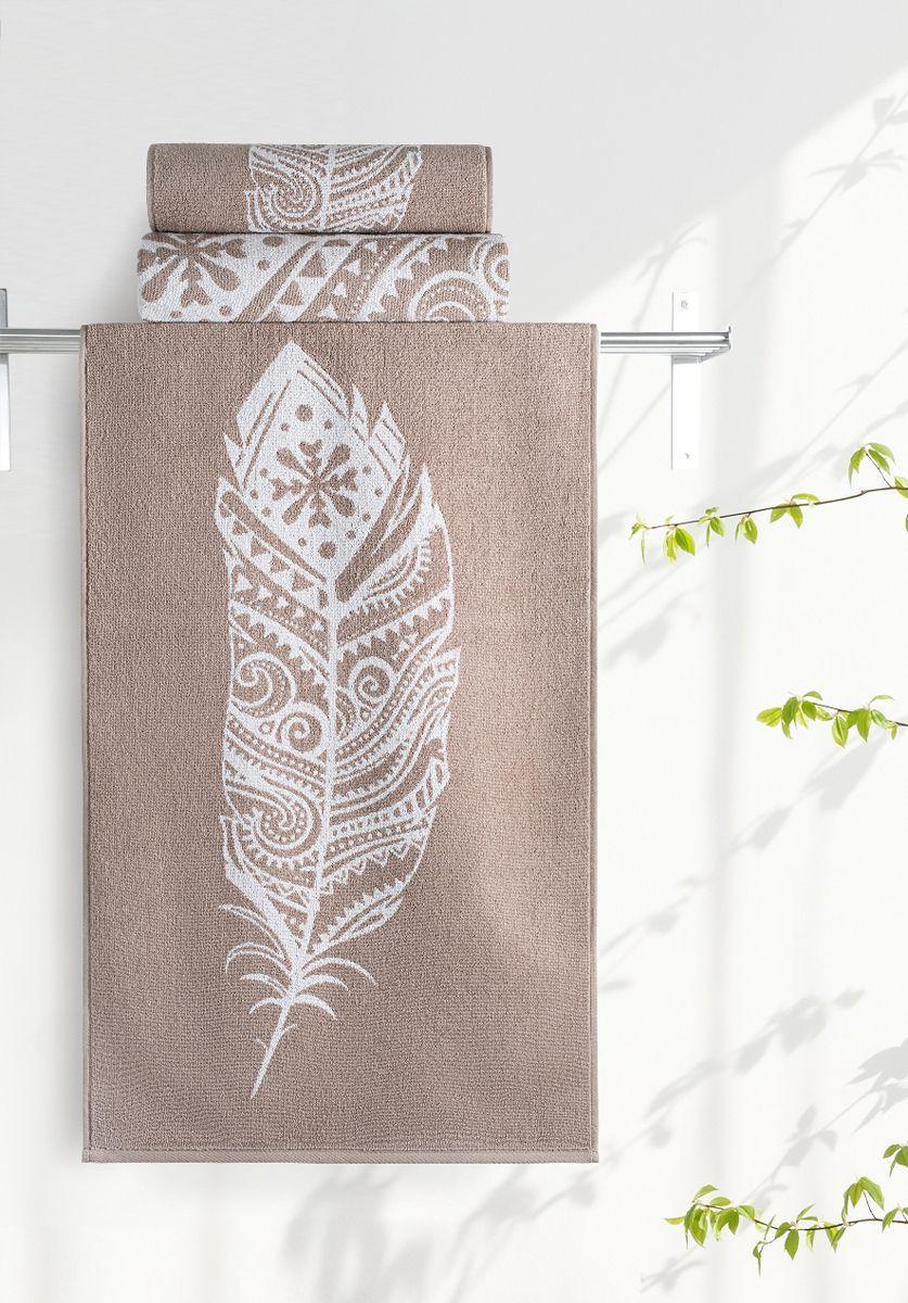 """Полотенце махровое Aquarelle """"Борнео 3"""", цвет: коричневый, белый, 35 х 70 см"""