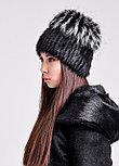 Женская зимняя шапка из натурального меха чернобурки и нутрии, фото 3