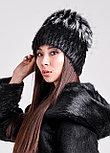 Женская зимняя шапка из натурального меха чернобурки и нутрии, фото 4