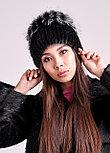 Женская зимняя шапка из натурального меха чернобурки и нутрии, фото 5
