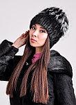 Женская зимняя шапка из натурального меха чернобурки и нутрии, фото 2