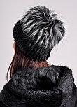 Женская зимняя шапка из натурального меха чернобурки и нутрии, фото 6