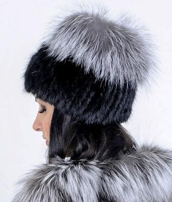 Меховая шапка из Норвежской чернобурки, натуральный мех - фото 1