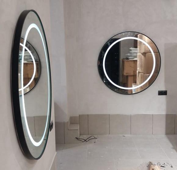 Зеркало с LED-подсветкой и пескоструйным рисунком в раме из МДФ, d=800 мм