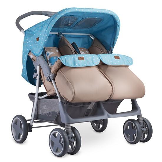 Bertoni Прогулочная коляска для двойни Bertoni TWIN + накидка на ножки (Синий/BLUE&BEIGE MOON BEAR 1955)