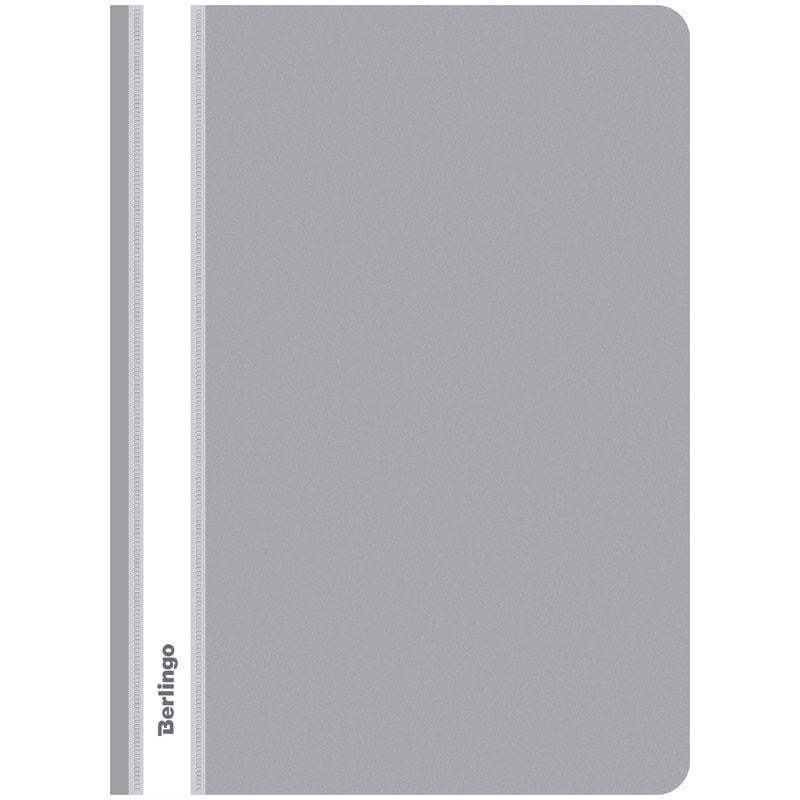 Папка-скоросшиватель пластик. А4, 180мкм, серая с прозр. верхом