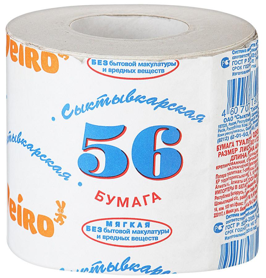 """Бумага туалетная на втулке """"Сыктывкар 56"""""""