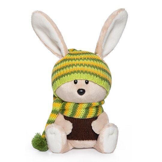 """Мягкая игрушка """"ЛЕсята"""" Заяц Антоша в шапочке и свитере, 15 см"""