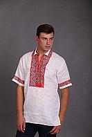 Вышиванка мужская, белый лен, вышивка красная с черным