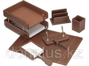Набор настольный Good Sunrise деревянный, 7 предметов, кожзам, коричневый