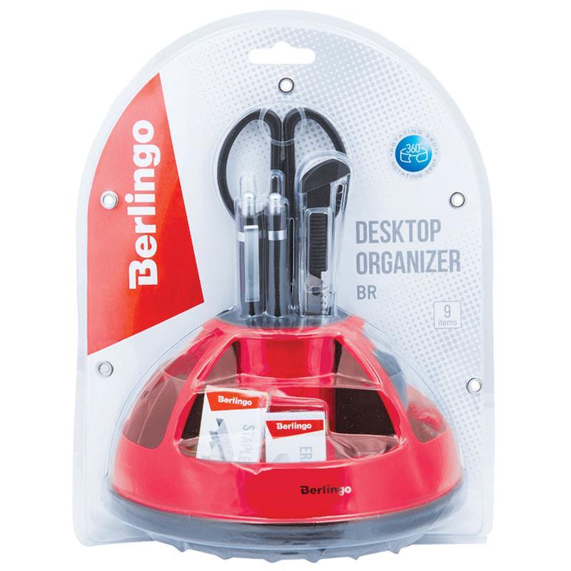 """Настольный набор Berlingo """"BR"""", 9 предметов, вращающийся, черный/красный, блистер"""