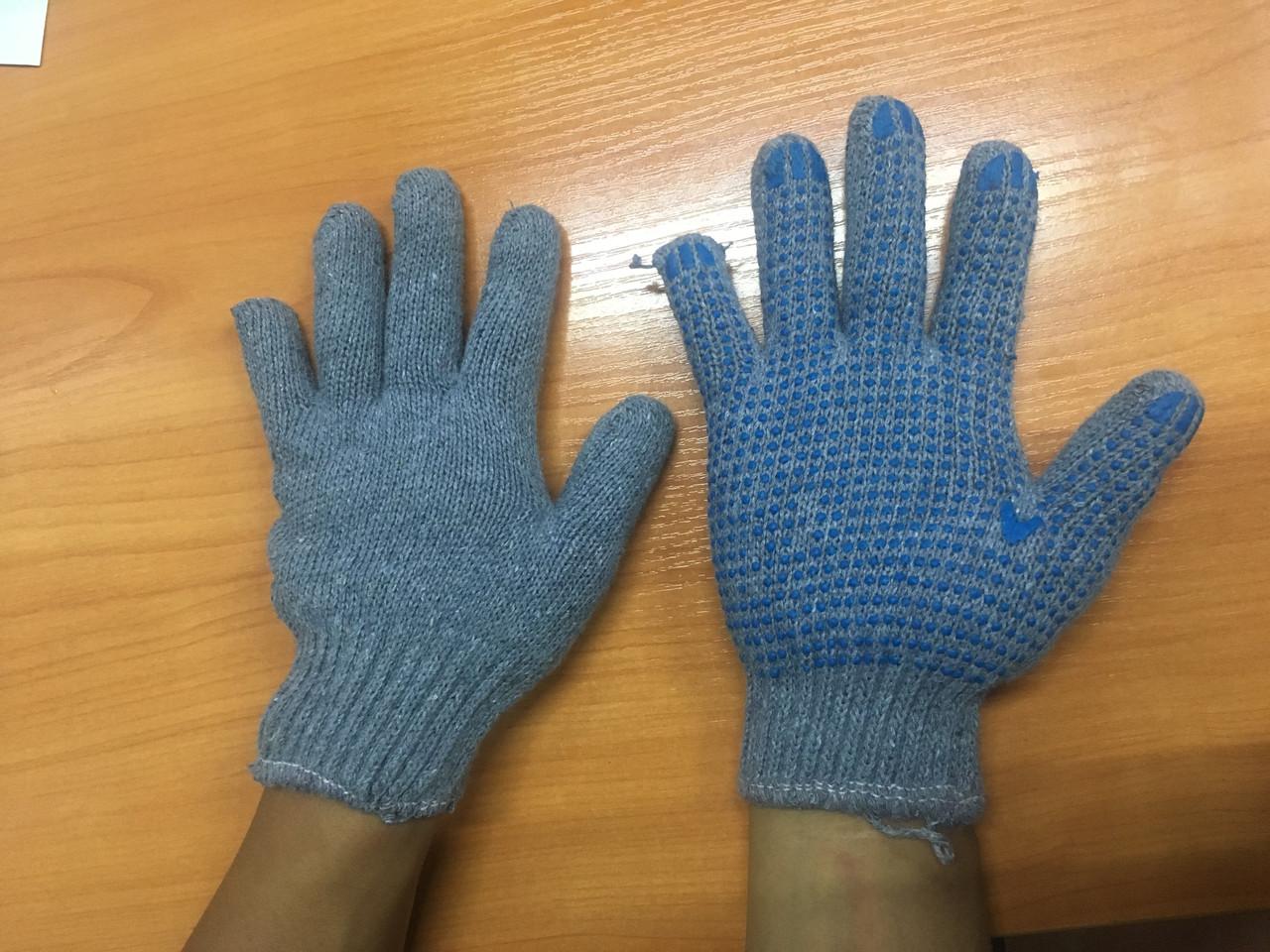 Перчатки пятипалые вязаные из ХБ