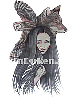Временное тату Tattoo девушка, сова и волк 215x155mm TH-079