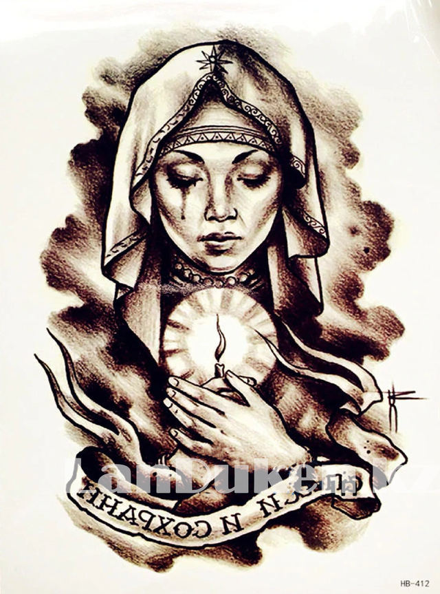 Временное тату Tattoo девушка со свечой 215x155mm HB-412