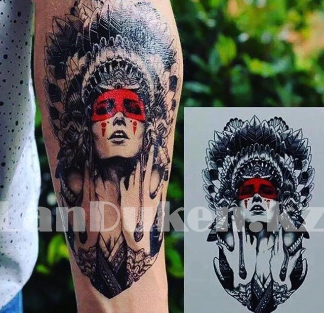Временное тату Tattoo девушка шаман 215x155mm HB-414