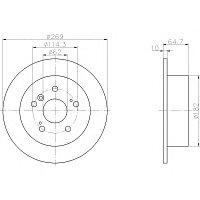 Тормозные диски Toyota Camry 10,20 (задние, Optimal, D269), фото 1