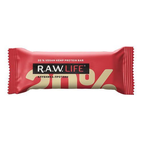 """Батончик орехово-фруктовый """"Клубника-протеин"""" Raw Life"""