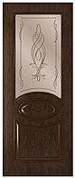 Дверь межкомнатная Престиж ДО, стекло бронза, гравировка рисунок бутон