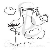 Штамп Аист с младенцем