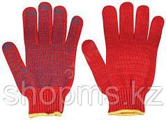 Перчатки вязаные упрочненные ( 4 нити ) красные х/б с ПВХ