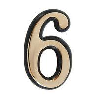 Цифра дверная '6', пластиковая, цвет золото (комплект из 50 шт.)