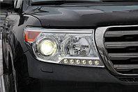 Защита фар/очки на Toyota Land Cruiser 200/Тойота Ланд Крузер 200 рестайлинг 2012- прозрачная