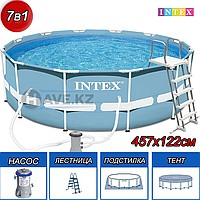 Круглый каркасный бассейн, Intex 26726, размер 457х122 см, фильтр производительностью 2.006 л\час