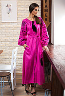 """Платье """"Золоте руно"""" розовый лен, черная вышивка"""