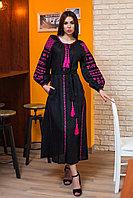 """Платье """"Золоте руно"""" черный лен, розовая вышивка"""