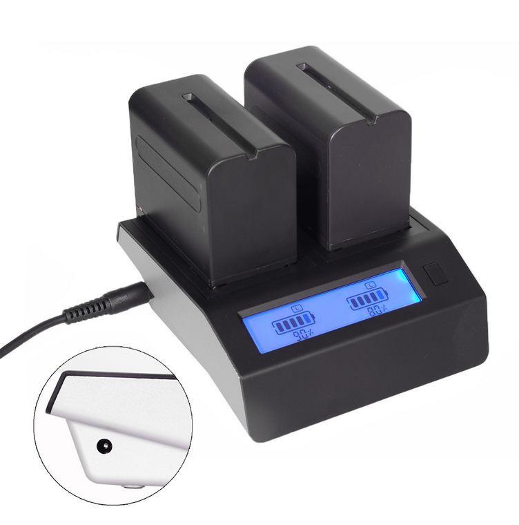 Для 2-х аккумуляторов с LED дисплеем SONY NP-F970/NP-F770/NP-F550/NP-F570 и т.д.