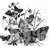 Штамп Бабочки в фиалках