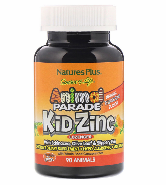 Nature's Plus, Source of Life, Animal Parade, пастилки Kid Zinc, вкус натурального мандарина, 90 животных