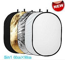 Фото отражатель 90 × 60 см 5 в 1 - золото, серебро, белый, чёрный, рассеиватель, фото 2