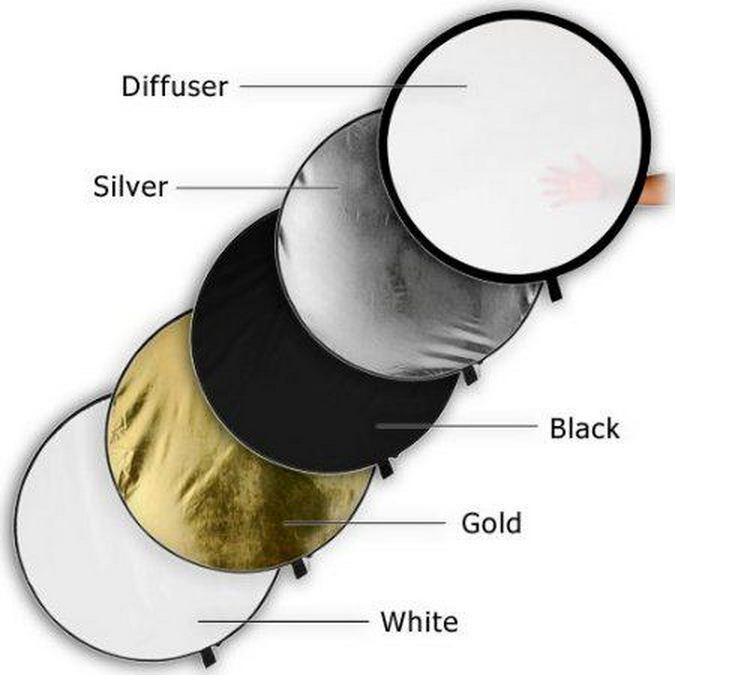 Отражатель (лайт - диск) 60 см 5 в 1 - золото, серебро, белый, чёрный, рассеиватель