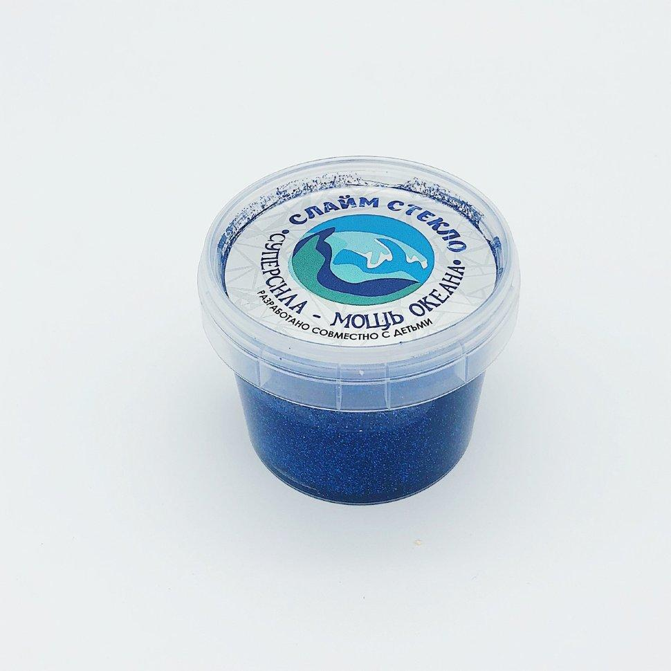 """Слайм """"Стекло"""" — Лепа (с ярко синими блестками) 100 гр"""