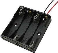 Корпус держатель отсек для 4-х батареек ААA с проводами