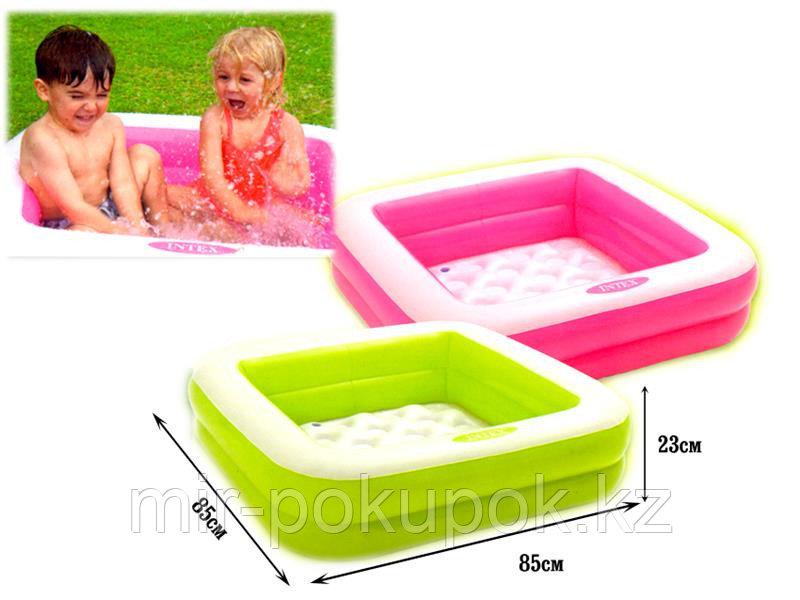 Надувной бассейн детский квадратный INTEX  57100  Play Box, 85x85x23 см, надувной дно