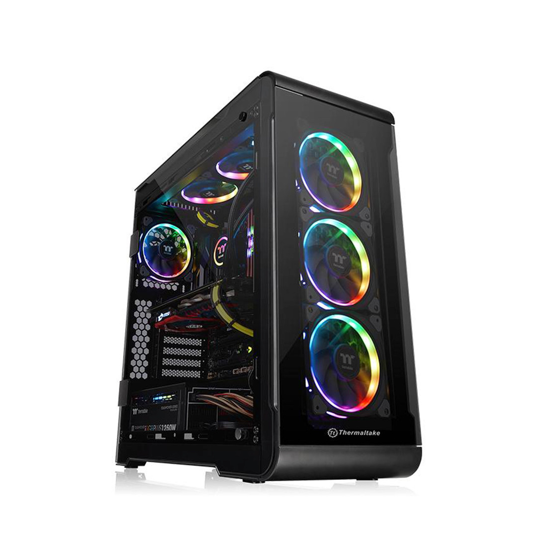 Кейс, Thermaltake, View 32 TG RGB (CA-1J2-00M1WN-00), ATX/Micro ATX, USB2*3.0, HD-Audio+Mic, Контроллер , Кулер 12см, Кулер 12см LED, Без Б/П, Чёрный