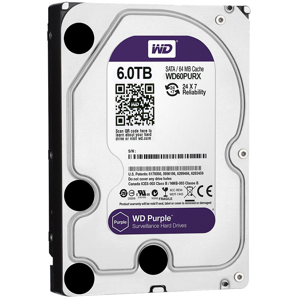 Жесткий диск для видеонаблюдения HDD 6Tb Western Digital Purple WD60PURZ SATA 6Gb/s 64Mb 3, 5""